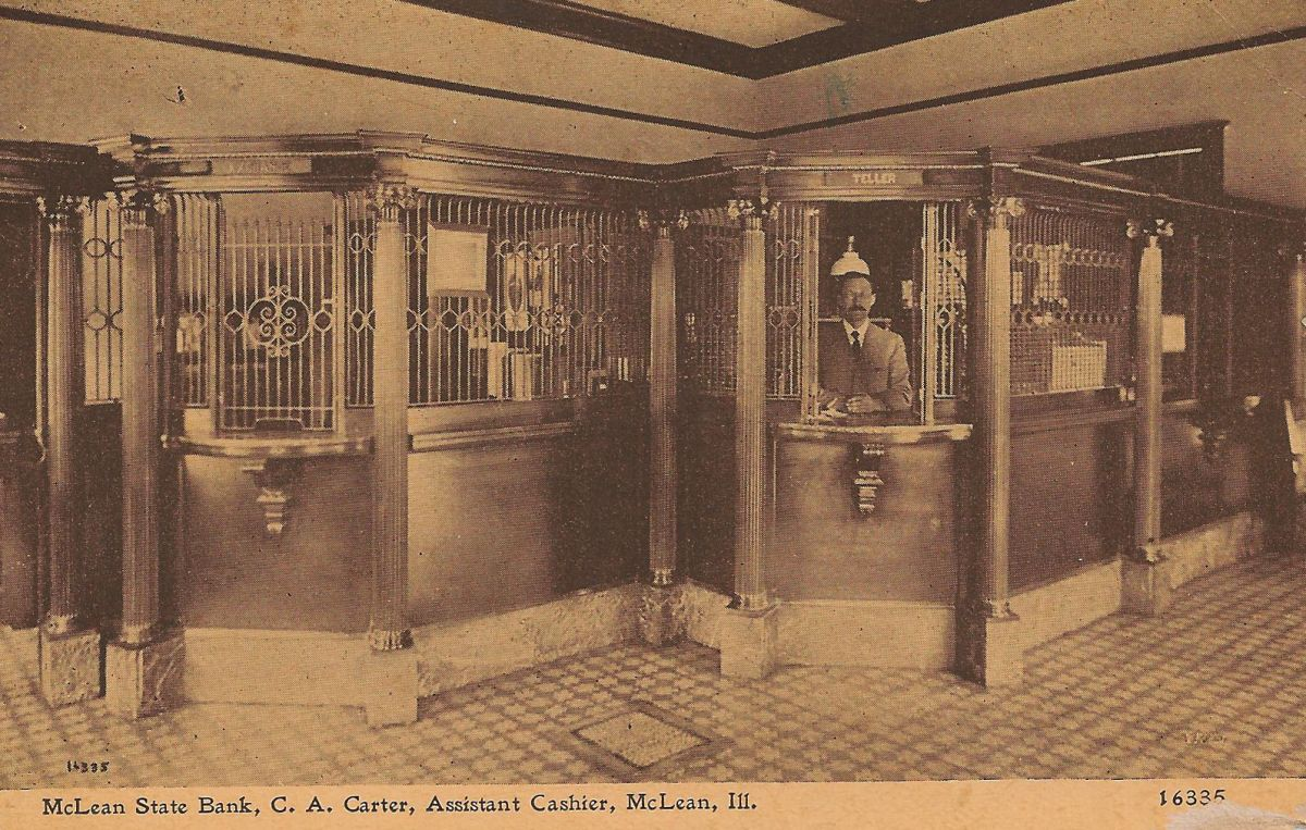 McLean State Bank interior, early 1900s. Under Frank W. Aldrich's leadership, it was one of three banks to stay solvent in McLean County after the 1932 bank holiday. Directors included Dean N. Funk, I. G. Funk, Joseph W. Stubblefield, and B. A. Canfield.