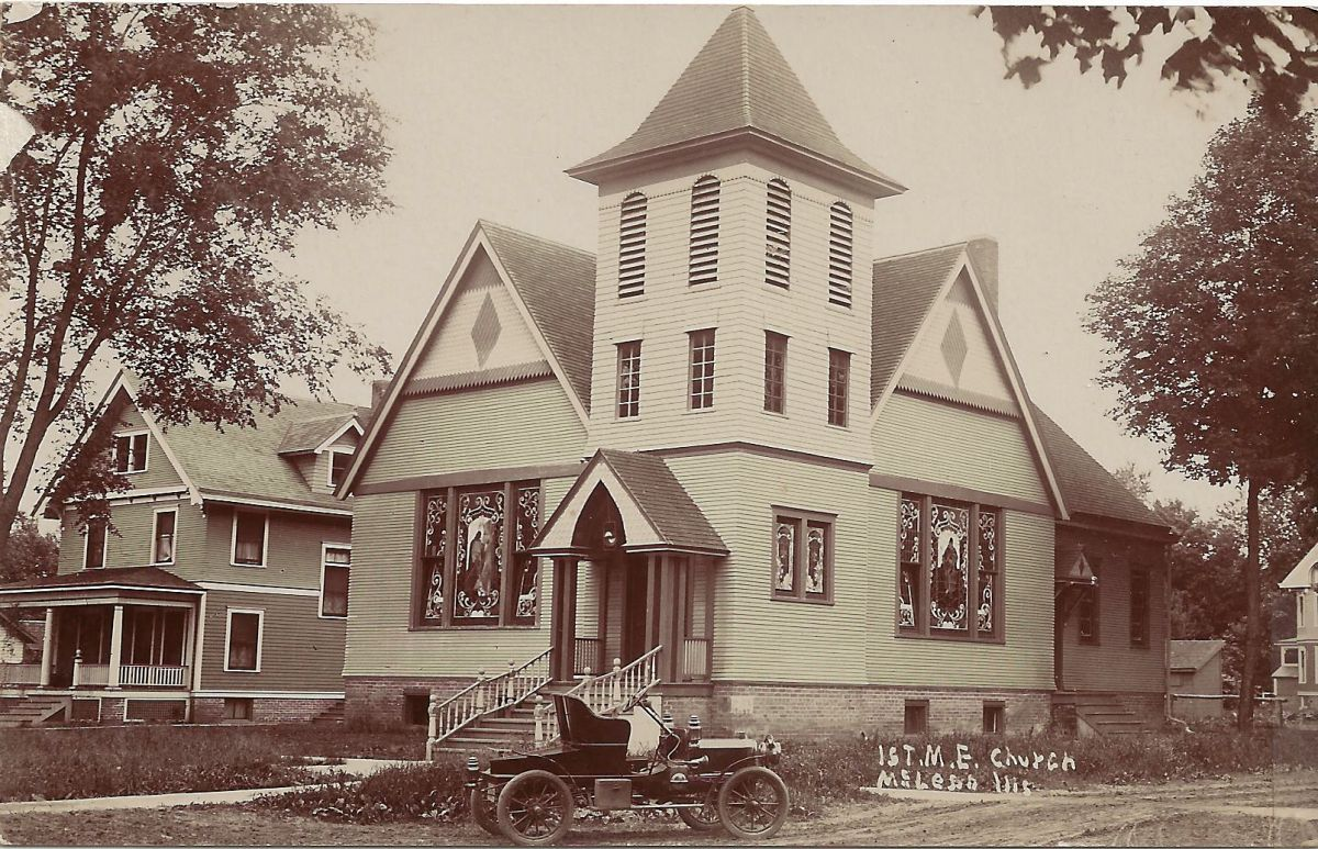 McLean Methodist Church, early 1900s. Organized in 1856–57, McLean Methodists built their first church in 1866. In 1900 that was torn down, and this church, which still stands at Franklin & Blatchford, was built across the street from the old location.