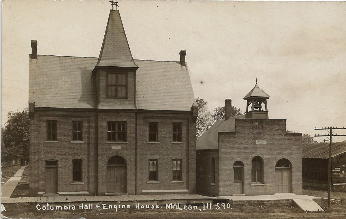 Columbia Hall and Engine House, circa 1907. These were built in 1892-93; Columbia Hall was destroyed by fire in 1915. The Mt. Hope Township Community Hall was built in its place in 1917. Courtesy of Jerome and Alene Robinson.