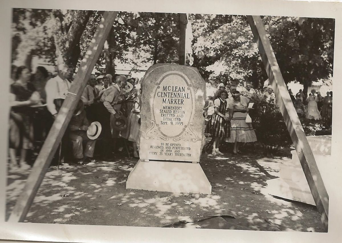 McLean Centennial Marker being placed in Village Square Park, September 9, 1955. A time capsule was placed, to be reviewed and updated every 25 years.