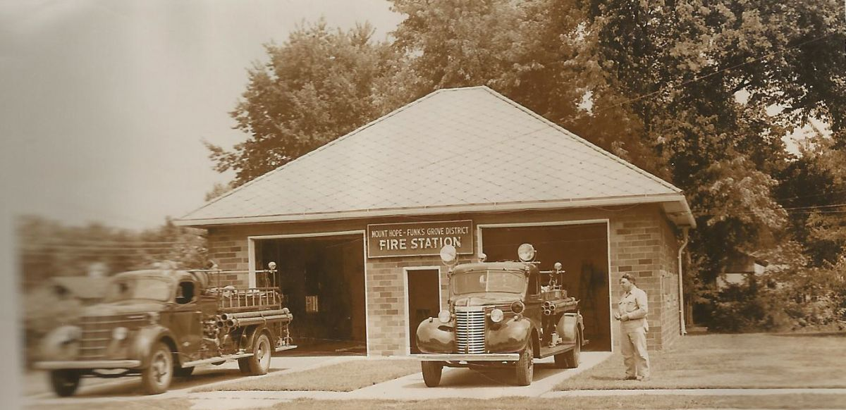 Mt. Hope–Funks Grove Fire Station, 1955. The fire district was organized in 1937; the station was built in 1938. Fire commissioners in 1955 were J. D. Roberts, LaFayette Funk, and R. A. Bowers. The building still stands near the RR crossing on Center St.