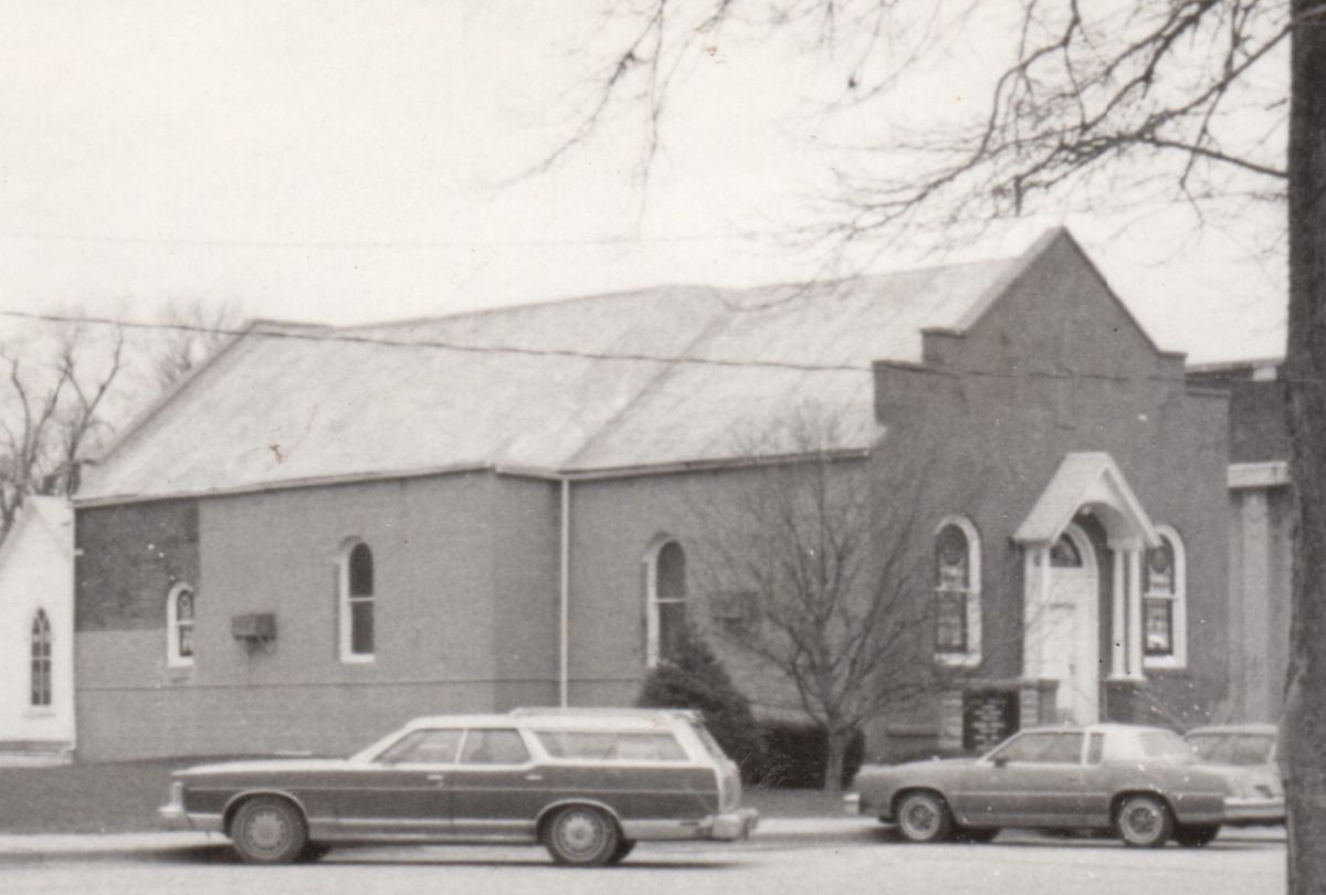 McLean Christian Church, circa 1975. Organized in 1903, the McLean Christian Church held services in the auditorium of the Community Hall until 1905, when this church was erected across the street. The church was rebuilt in the same location in 1984.